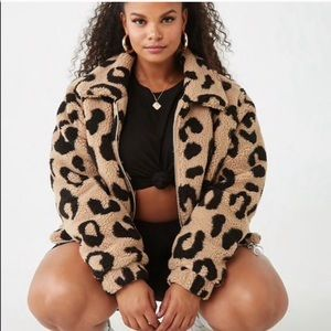 Leopard sherpa coat plus size